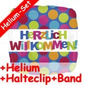 Folienballon Herzlich Willkommen - Mit Helium
