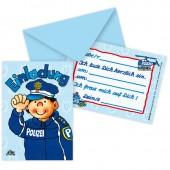 8 Einladungen + Umschläge Paul der Polizist