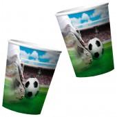 4 Becher Fußball Stadion mit 3D-Effekt