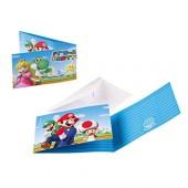 8 Einladungen + Umschläge Super Mario Bros