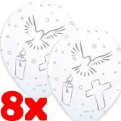 8 Luftballons Weiße Taube