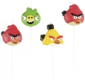 4 Mini-Figurenkerzen Angry Birds