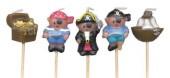 5 Mini-Figurenkerzen Piraten