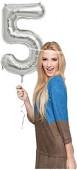 Folienballon Zahl 5 - in Silber