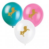 8 Luftballons Goldenes Einhorn