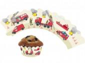 12 Cupcake Deko-Banderolen Feuerwehr für Muffins