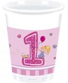 8 Becher 1. Geburtstag - Mädchen