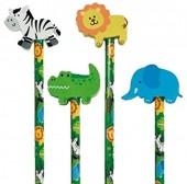4 Bleistifte mit Radiergummi - Safari