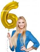 Folienballon Zahl 6 - in Gold