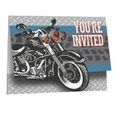 8 Einladungen + Umschläge Motorrad