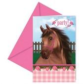 8 Einladungen + Umschläge Pferde