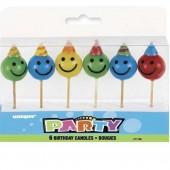 6 Mini-Figurenkerzen Smileys