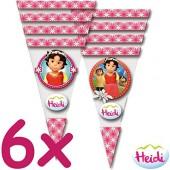 6 dreieckige Geschenktüten Heidi und die Berge