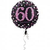 Folienballon 60. Geburtstag - Sparkling Pink