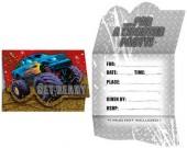 8 Einladungen + Umschläge Monstertruck