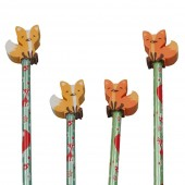 4 Bleistifte mit Radiergummi - Fuchs