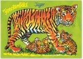 Fensterbild + Postkarte Tiger