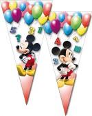 10 dreieckige Geschenktüten Mickey Mouse Geburtstag
