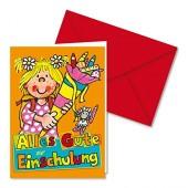 """Glückwunsch-Karte """"Alles Gute zur Einschulung"""" - für Mädchen"""
