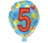 Folienballon Zahl 5 in bunt - Ohne Helium