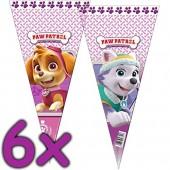 6 dreieckige Geschenktüten Paw Patrol Pink