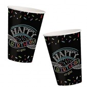 8 Becher Black Happy Birthday