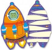 6 Einladungskarten Weltraum / Rakete