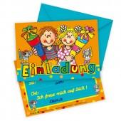 8 Einladungskarten + Umschläge Schulkinder