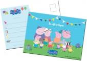 8 Einladungen Peppa Pig