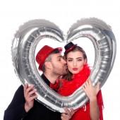 Silberner Folienballon Herz Fotorahmen