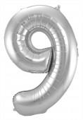 Folienballon Zahl 9 - in Silber