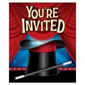 8 Einladungen + Umschläge Zauber-Party