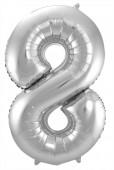 Folienballon Zahl 8 - in Silber