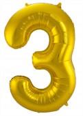 Folienballon Zahl 3 - in Gold