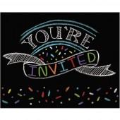 8 Einladungen + Umschläge Black Happy Birthday