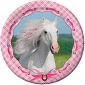8 Teller Weißes Pferd
