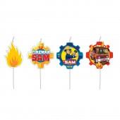 4 Mini-Figurenkerzen Feuerwehrmann Sam
