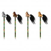 4 Bleistifte mit Radiergummi - Pferde