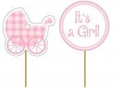 12 Cupcake Deko-Sticks Baby Girl