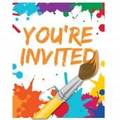 8 Einladungen + Umschläge Kunterbunt - Kunst-Party