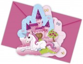 6 Einladungen + Umschläge Unicorn