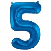 Folienballon Zahl 5 - in Blau