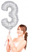 Folienballon Zahl 3 - in Silber - mit Muster