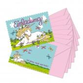 8 Einladungskarten Einhorn