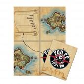 8 Einladungen + Umschläge Schatzkarte Pirat