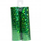 2 Luftschlangen in Holographie-Grün