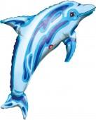 Folienballon Delfin in blau