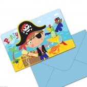 8 Einladungen + Umschläge Little Pirates II