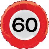 Folienballon 60. Geburtstag - Verkehrsschild-Design