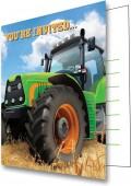 8 Einladungen + Umschläge Traktor